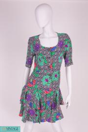Jean-Louis Scherrer Silk Floral Dress - dark blue/green/pink/purple