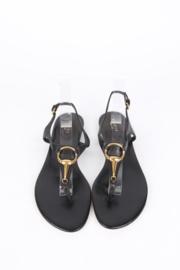 Gucci Black Leather Horsebit Thong Sandals