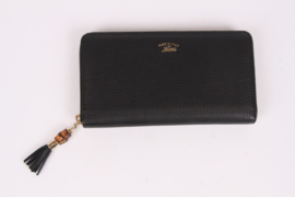 Gucci Bamboo Tassel Zip Around Wallet XL - black leather