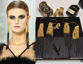 Chanel Ultra Long Earrings - black/gold Spring 2011