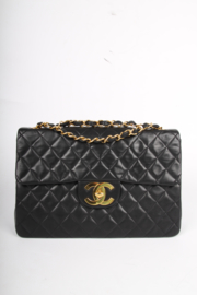 Chanel 2.55 Timeless Maxi Single Flap Bag - black leather