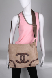 Chanel Brown Suede Leather Shearling CC Logo Gold Coloured Hardware Crossbody XL Shoulder Bag