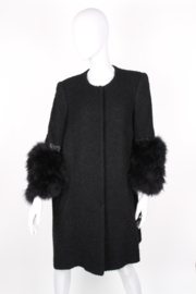 Sheila de Vries Couture Black Wool Feather Coat