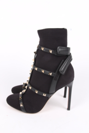 Valentino Rockstuds Sock Booties - black/gold