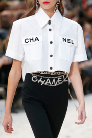 Chanel S/S 2019 Crystal Logo Gold Chain Belt