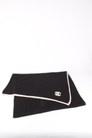 Chanel Black White CC Logo Cashmere Scarf