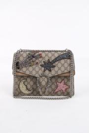 Gucci Dionysus Crystal Rhinestone Embellished Beige Leather Jacuard GG Silver Plated Brass Hardware Shoulder Envelope Crossbody Flap Bag