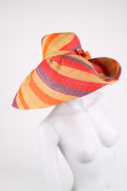 Couture Red Purple Striped Straw Derby Hat
