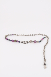 Chanel Chain Belt Beads - silver/purple/grey