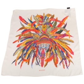 Gucci Feather Tribal Silk Scarf - white/multi color