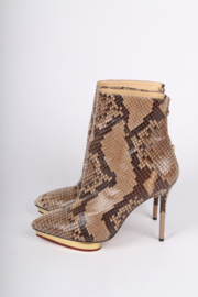 Charlotte Olympia Deborah Python Ankle Boots - beige/brown