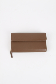 Gucci Brown Leather Gold Plated Hardware Large Continental Zip Around French Swing Flap Wallet