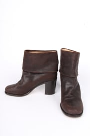 Chanel Scuffed Leather Ankle Boots - dark brown
