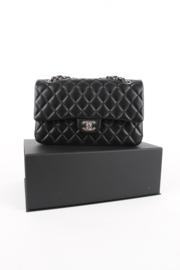 Chanel Timeless Medium Black Leather Double Flap Lambskin Leather Silver Hardware Shoulder Bag