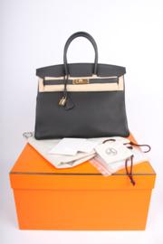 Hermes Birkin Bag 35 Togo Noir - goldtone hardware