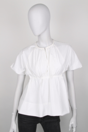 Victoria by Victoria Beckham White Cotton Short Sleeve Peplum Top