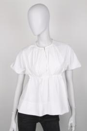 Victoria by Victoria Beckham White Cotton Short Sleeve Peplum Top
