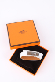 Hermès White Leather Kelly Double Tour Bracelet