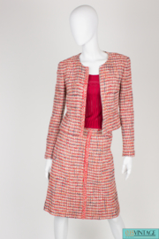 Chanel 3-pcs Suit Jacket,  Skirt & Top - red/gray/pink/white