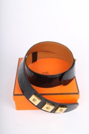 Hermes Alligator Piano Leather Belt - black/gold