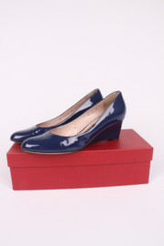 Salvatore Ferragamo Patent Leather Wedges - blue