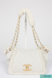 Chanel Leather & Shearling Quilted Bag - off-white