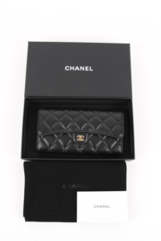 Chanel Timeless Classic Black Leather Long Flap Wallet Gold Hardware