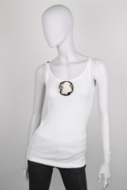 Dolce and Gabbana White Cotton Ribbed Flower Tank Top