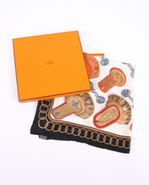 HERMES Silk 'Epaulettes' Scarf - black/white/gold/blue/red