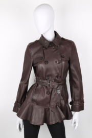 Moschino Cheap & Chic Brown Leather Double Breasted Belted Long Sleeve Jacket