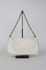 Chanel White Leather Medium CC Logo Silver Coloured Hardware Multi Chain Crossbody Shoulder Hand Flap Bag
