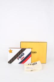 Fendi x Fila White Calfskin Leather FF Zucca Monogram Gold Hardware Zip Up Flat Clutch Pouch Bag