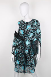 Dolce and Gabbana Black Turquoise Embellished Dress Cape Ensemble