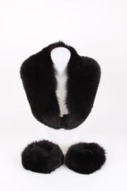Black Fox Fur Stole And Cuff Ensemble