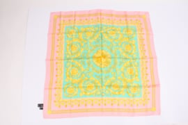 Versace Silk Scarf Baroque Print - turquoise/pink/gold