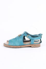 Chanel Blue Leather Calfskin Open Toe CC-Logo Slingback Sandals
