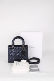 Christian Dior Lady Dior Blue Metallic Leather Medium Quilted Logo Silver Coloured Hardware Top Handle Crossbody Shoulder Hand Bag
