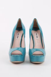 Miu Miu Turquoise Blue Patent Leather Open Toe Silver Block Heels