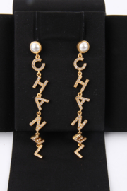 Chanel Spring Summer 2020 Collection (B20 P) Gold-Tone Rhinestone Crystal Drop Embellished Letter Spellout Earrings