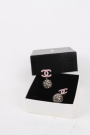 Chanel 2008 Cruise Collection (08C) Pastel Pink Logo Silver Rhinestone Crystal Embellished Ball Clip-On Earrings