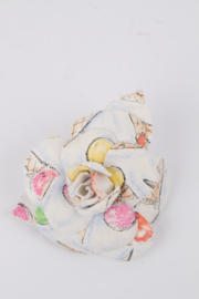 Chanel 2004 Cruise Collection (04C) White Pink Red Yellow Green Multicolor Cotton Camellia Flower Brooch