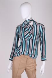 Gucci Striped Silk Blouse - black/green/grey