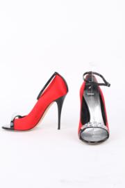 Giuseppe Zanotti Red Satin Embellished Open Toe Black Patent Leather Heel