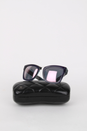 Chanel Purple Resin Silver Chain Metal Retro Oversized Sunglasses