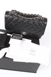 Chanel 2.55 Timeless Jumbo Double Flap Bag - black caviar leather/silver