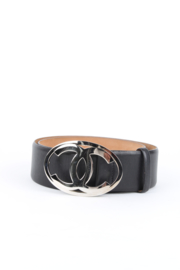 Chanel Fall / Winter 2006 (06A) Black Leather Monogram CC Logo Silver Coloured Hardware Round Metal Buckle Belt