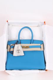 Hermes Birkin Bag Togo 30 Bleu Zanzibar Gold Hardware - blue