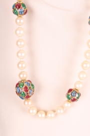 Vintage Chanel Pearl Necklace with Glass and Gold-tone Beads - white/red/blue/green