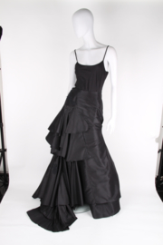 Christian Lacroix Couture Black Silk Overstated Asymmetric Baroque Ball Gown Ruffled Petticoat Skirt