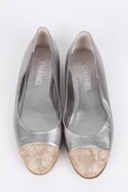 Chanel Cap Toe Ballerina's - silver/gold